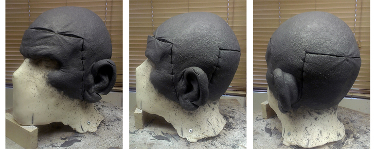 Three views of the head prosthetic sculpt